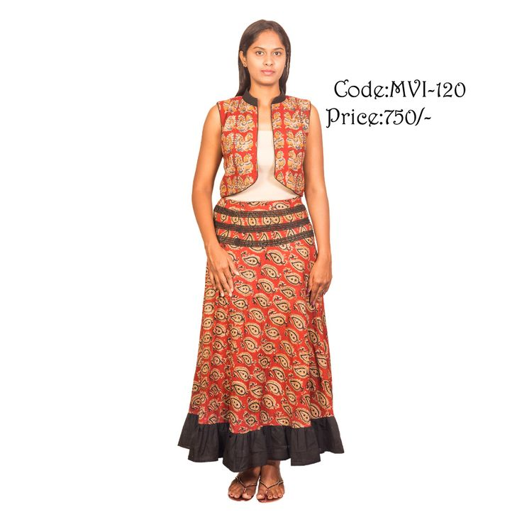 kalamkari jacket designed with plain cotton collar and simple piping, skirt designed with plain contrast frills and lace yoke. Code:MVI-120 Jacket Price:-750/-  Skirt Price:-950/- ( bulk buyers / wholesale / boutiques / Retail shops for trade inquiries please contact our whatsapp no 8801302000)