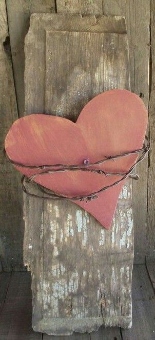 Red/Pink Wooden ♡ and Barbed wire __[Via Etsy by gritsngrace] #edit dupl?