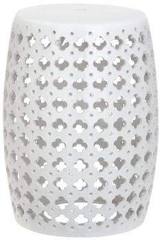 <p>Incredibly versatile, the Lacey white indoor-outdoor garden stool adds a feminine finishing touch to transitional spaces as a seat or side table. A pierced quatrefoil motif inspired by couture lace fashions adorns this pretty glazed ceramic accent piece.</p>