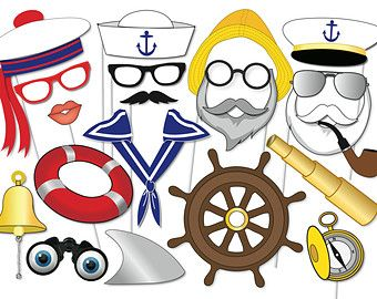 Nautical Party Photo booth Props Set 20 Piece by TheQuirkyQuail