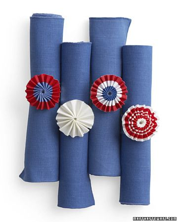Patriotic Napkin Rings  Add a splash of patriotism to Independence Day place settings with our red, white, and blue napkin rings.