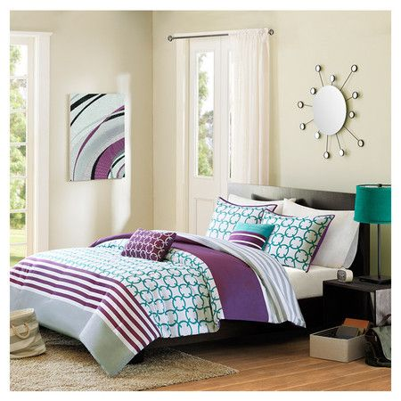 Found it at Wayfair - Halo Comforter Set in Teal - I LOVE THE COLOUR COMBINATION OF TEAL, PURPLE AND WHITE.
