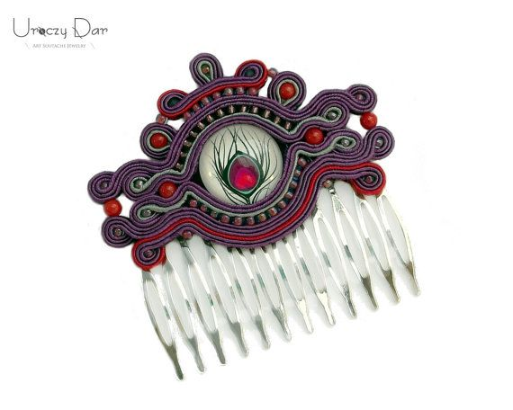 Soutache decorative hair with coral by UroczyDar on Etsy