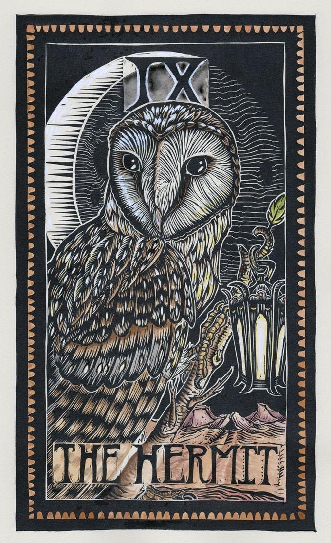 The Hermit (Barn Owl) Brady Tarot
