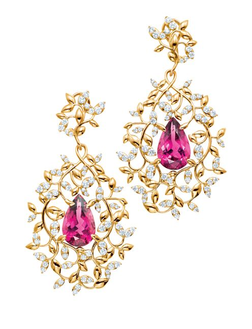 Tiffany & Co.'s Olive Leaf earrings with pear-shaped rubellites and diamonds.