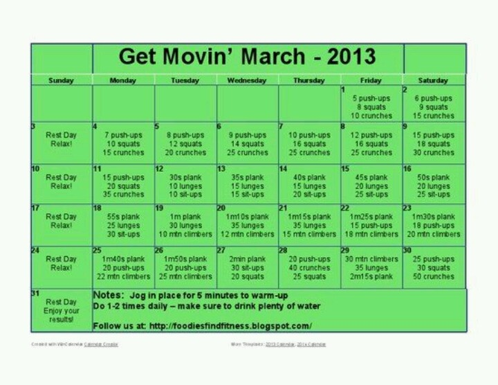 Get moving! health fitness Workout calendar, Month