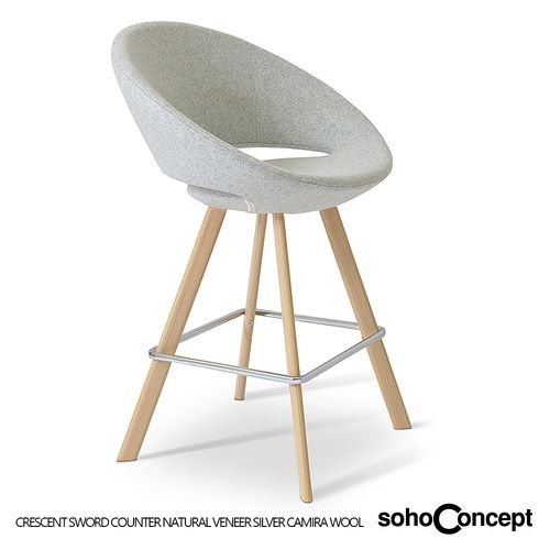 A Contemporary Counter And Bar Stool With Comfortable Upholstered Seat Backrest Soho Concept