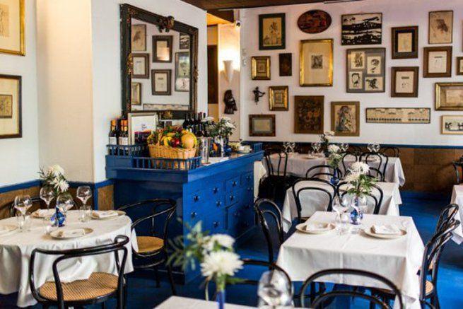 Restaurante Sacha. Encantador y coqueto comedor. Platos de siempre, comida tradicional. Madrid, España.