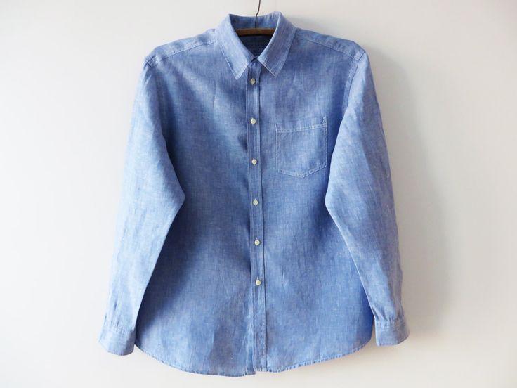 Men Linen Shirt Blue Linen Shirt Long Sleeve Shirt Blue Linen Chemise Summer Men Shirt Country Wedding Shirt Oversized Shirt XL Large Shirt by YourEclecticStreet on Etsy
