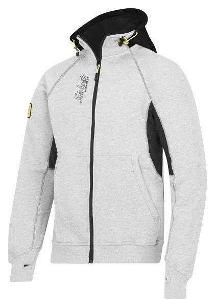 Snickers Logo hættetrøje med lynlås, grå/sort (2816-1804) - Overdele - BILLIG-ARBEJDSTØJ.DK