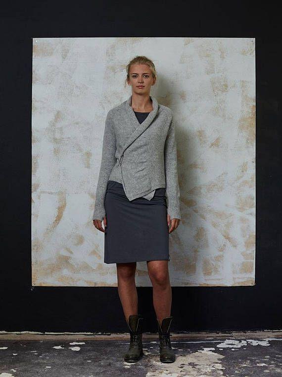 Wool cardigan Handmade wool wrap Natural grey wool cardigan