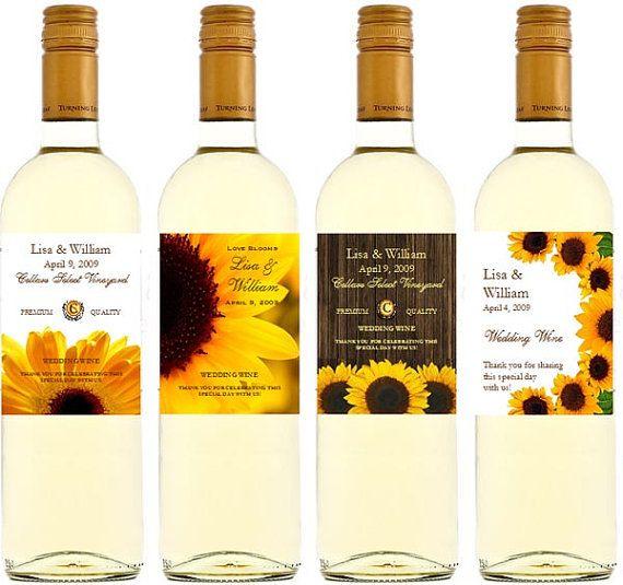 LOVE THESE!! SUNFLOWER Bridal Shower Wedding Wine Bottle
