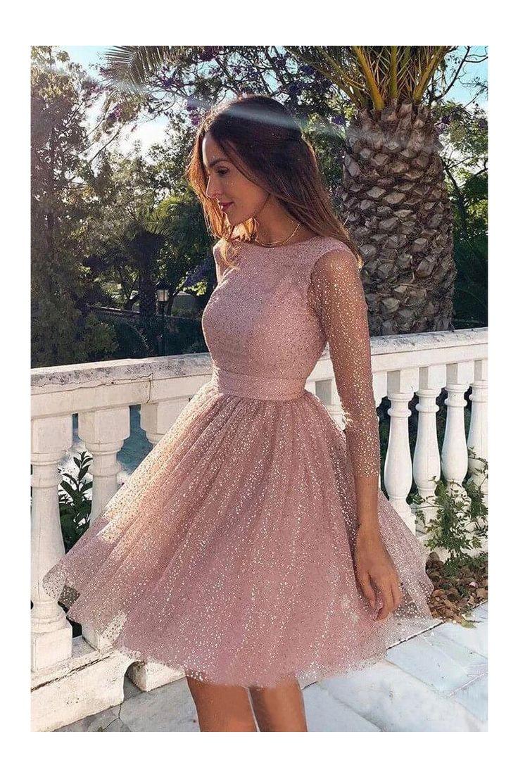 Paillettes manches longues robes de soirée courtes dos nu robe formelle € 125.67 IRP7SB2KB2
