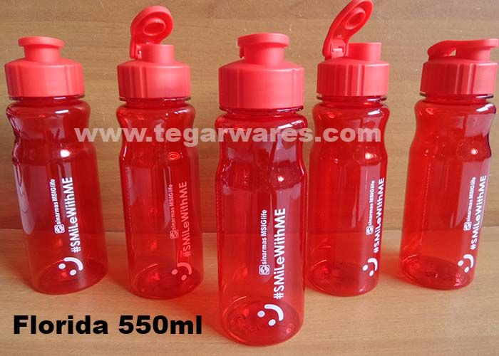Florida waterbottles capacity 560ml BPA Free size: 22cm x 7cm x 7cm, available on seven colors: Black, blue, green, orange, purple, red & turqoise. With the flip lid easily opened with one hand, very easy to drink while you're driving, an ideal choice to serve as the merchandising life insurance company. As shown above, Florida 560ml ordered by PT Asuransi Sinar Mas MSIG, Jakarta Indonesia