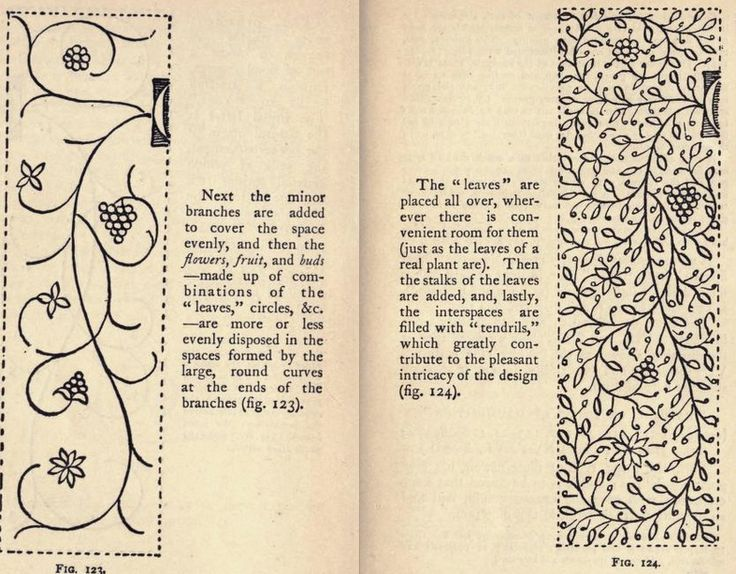 instructions for filling a border, from the public domain book, Writing & illuminating, & lettering by Edward Johnston.