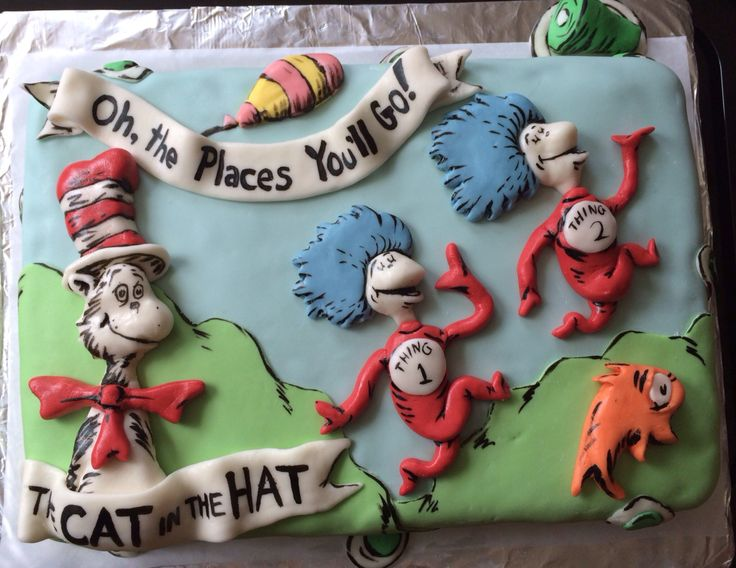 Dr Seuss' birthday cake by two sisters