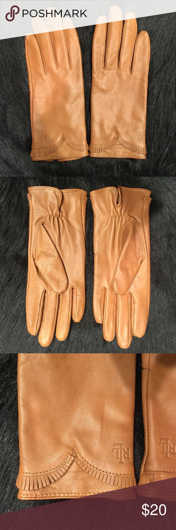 Ralph Lauren Camel Leather Gloves Camel colored leather cloves with camel interior. Beautiful fringe detail on front. Perfect condition! So warm! Ralph Lauren Accessories Gloves & Mittens