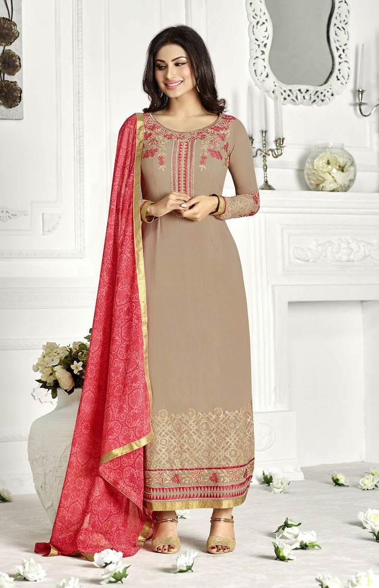 Beige long Islamic Pakistani salwar kameez in georgette C16128