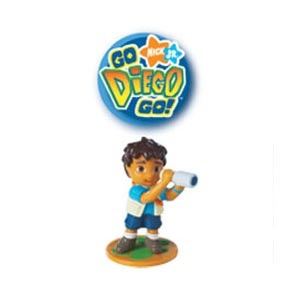 Go Diego Go! Party Toppers (set of 6).  Diego scopes out all the party fun on these colourful toppers. They're easy ways to complete your treats! Handpainted, food-safe plastic is great on cupcakes, brownies, cakes and more. 2 inches high.