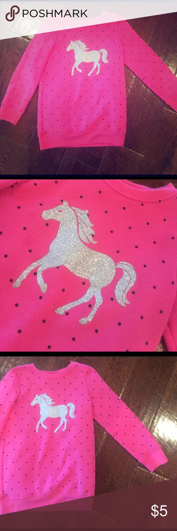 Girls Horse Sweatshirt Pink sweatshirt with glittery silver horse and black polka dots, Jumping Beans size 4T Shirts & Tops Sweatshirts & Hoodies