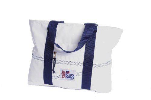 Sailor Bags Sailcloth Tote Bag (White/Blue Straps, Medium) by Sailor Bags. $41.00. Great as a school bag or just to run errands around town. Measures 13 x 11.5  5 inches. Zippered top keeps items dry and secure. Great for errands around town, and excellent as a school bag. Zippered top keeps contents dry and secure, and stays out of the way when not needed.. Save 18%!