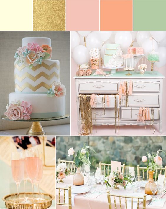 Shabby Chic Inspiration Board   Pink, Peach, Mint