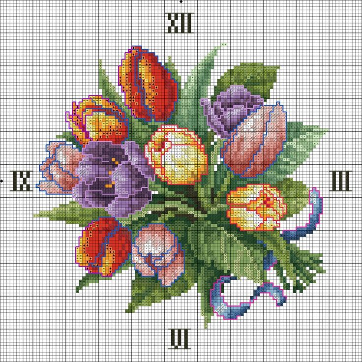 Квадратные часы с букетом тюльпанов - 16 Января 2013 - Новые вышивки - Вышивка