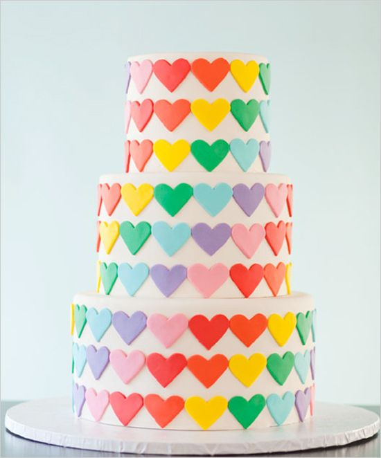 Sp pretty! Rainbow heart #weddingcake - via Wedding Chicks.