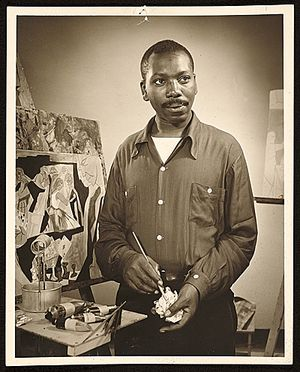 "Jacob Lawrence. ""My belief is that it is most important for an artist to develop an approach and philosophy about life - if he has developed this philosophy, he does not put paint on canvas, he puts himself on canvas."""