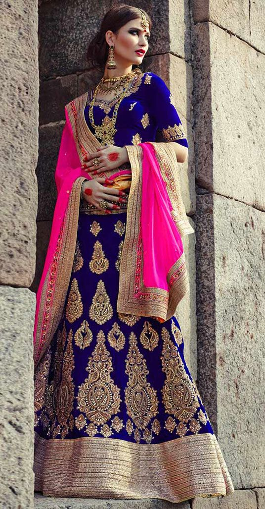 USD 202.88 Royal Blue Velvet Net Wedding Lehenga Choli 44117