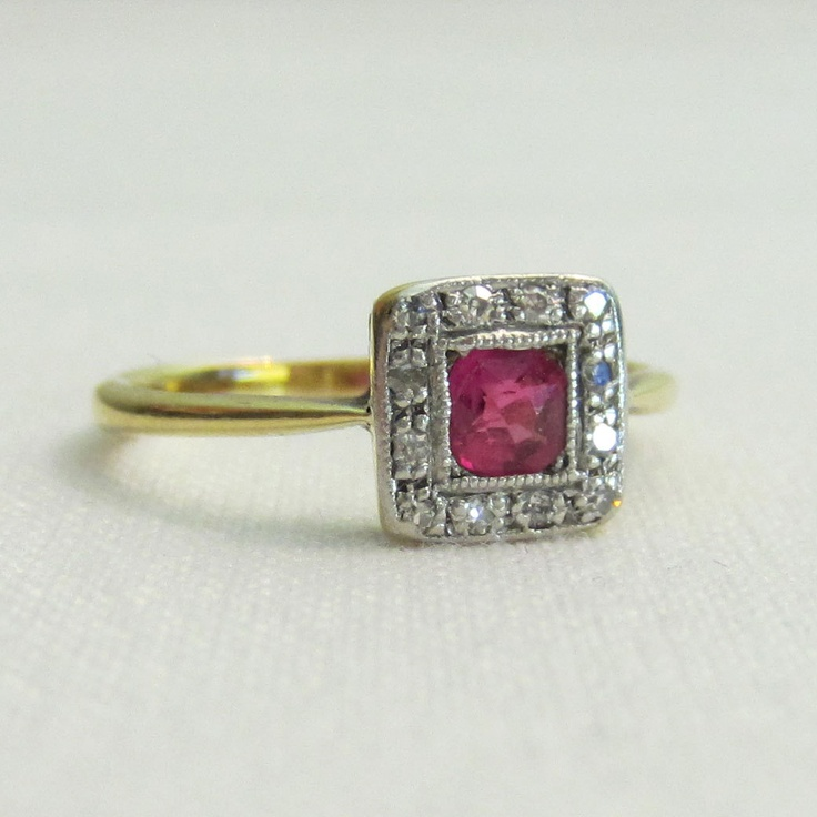 Vintage Wedding Rings 1920 RESERVED Antique Ruby Engagement Ring