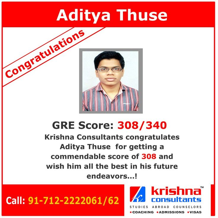 Congratulations to Aditya Thuse for getting an excellent score in GRE. WIsh you all the best for your future.