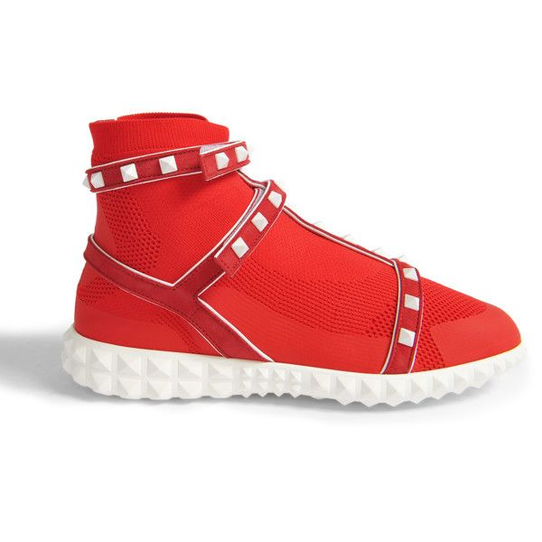 Valentino Garavani Rockstud bodytech hightop sneakers ($995) ❤ liked on Polyvore featuring shoes, sneakers, red, high-top sneakers, red hi top trainers, red trainers, red high top sneakers and valentino high tops