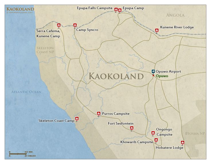 Detailed #map of Kaokoland in #Namibia. For a #Kaokoland travel guide visit www.safaribookings.com/kaokoland. With reviews, maps, tour operators and photos.