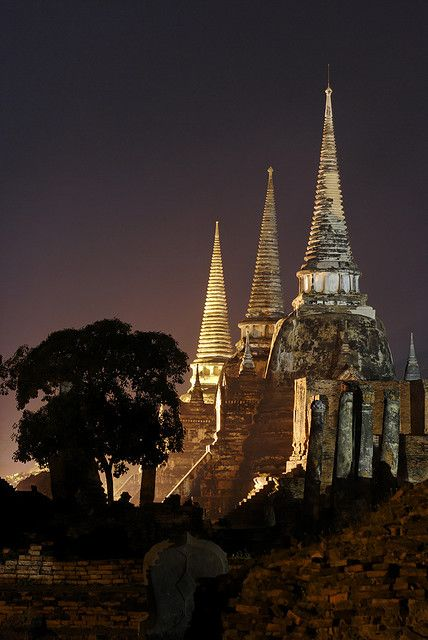 Wat Phra Sri Sanphet at night, Ayutthaya - Thailand