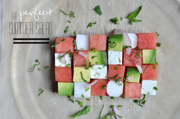 whisked.: Summer Salad  I might add some lemon juice, would have to try it first to see but visually beautiful!