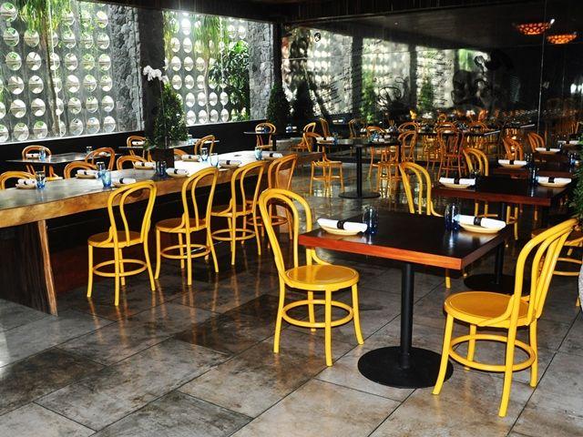 Colourful seats at Salt Tapas, Seminyak, Bali: fine dining hotspot!