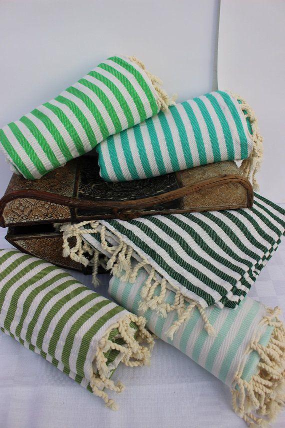 Green Turkish Towel Striped Peshtemal Set Turkish Beach Towel Hammam Towel