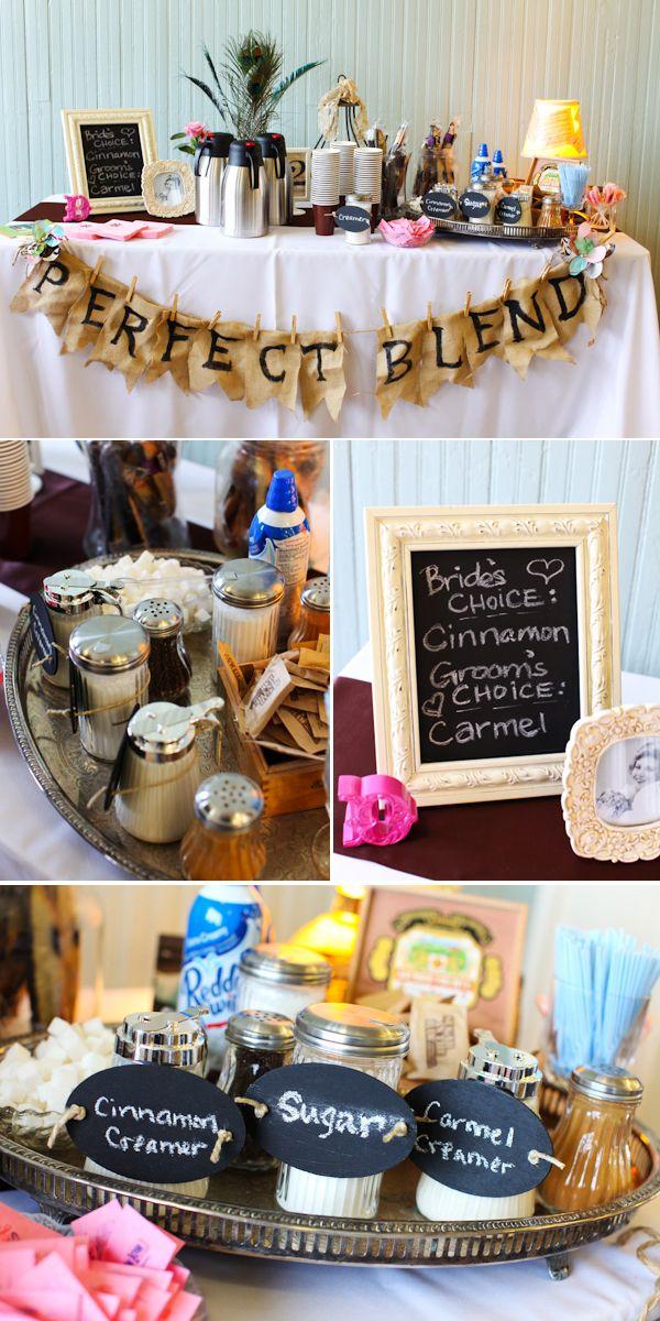 coffee bar at a wedding! yes please Sugar cinnamon creamer coffee Tea