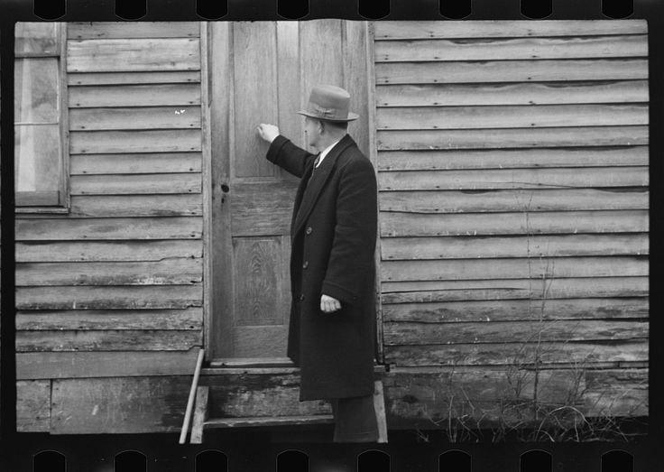 Resettlement Administration representative at door of rehabilitation client's house, Jackson County, Ohio | Library of Congress