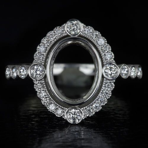 VINTAGE DIAMOND BEZEL 9x7 2ct OVAL SEMI MOUNT ENGAGEMENT RING SETTING HALO 14K #SolitairewithAccents
