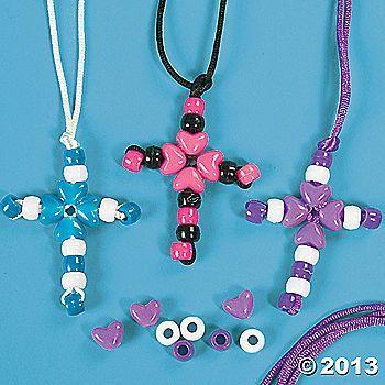 Bead cross necklace using pony beads. Sunday school craft / Bible craft