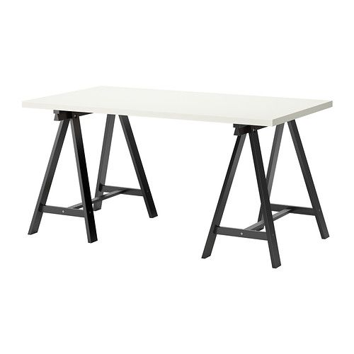 LINNMON/ODDVALD Table IKEA Pre-drilled leg holes for easy assembly. Solid wood, a durable natural material.  clean lines, gives a loft art gallery feel