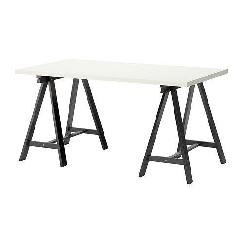 LINNMON/ODDVALD Table, blanc, noir blanc/noir 150x75 cm 50€ Bureau