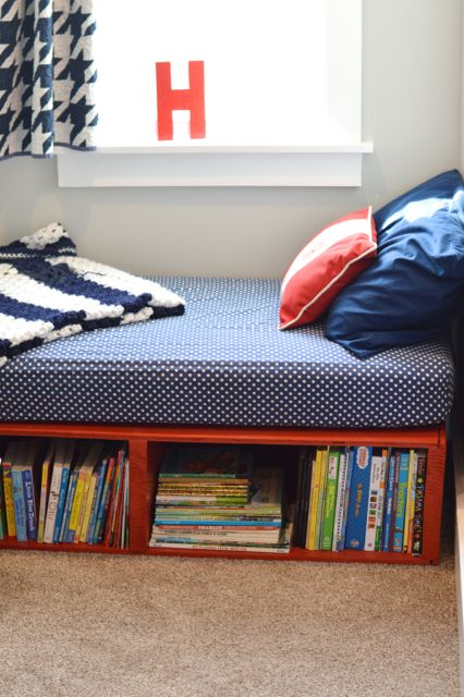 The last time I shared Henry's tiny little room, it included Henry's crib converted to a toddler bed. But crib took up way too much space and was cumbersome in such a tiny space. So, I got to thinking that a little platform bed would be just the ticket. It would be a lower profile …