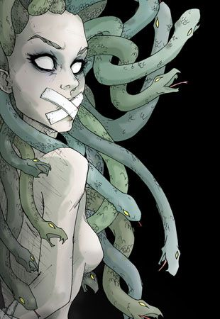 Medusa's visage has since been adopted by many women as a symbol of female rage. / Judy,head of Butter Clown Enchis or Ouroboas