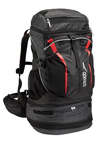 Speedo Tri-Clops Backpack, Black/Grey/Red, 50-Liter >>> Learn more by visiting the image link. #BackpacksBags
