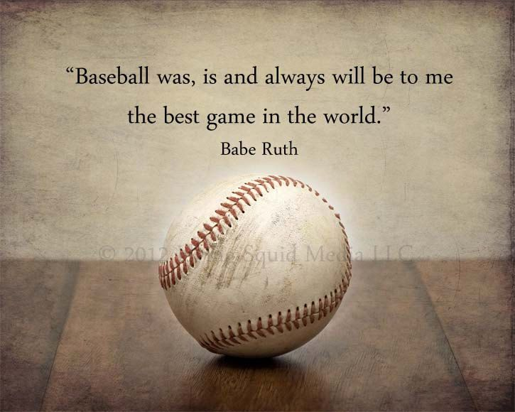 Baseball Art - 8x10 (10x8) Baseball photo print featuring a famous Babe Ruth quote - Customizable - Boys room decor, Man cave art. $18.00, via Etsy.