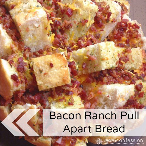 Cheesy Bacon Ranch Pull Apart Bread - http://www.momsconfession.com/bacon-ranch-pull-apart-bread/