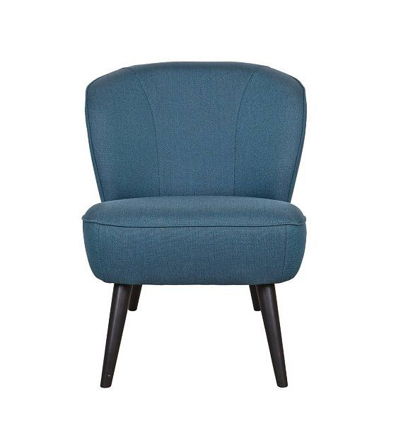 LEF collections Fauteuil Sara petrol blauw polyester 70x59x71cm - wonenmetlef.nl